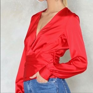 NWT Nasty Gal Red Satin Long Sleeve Blouse Size 6